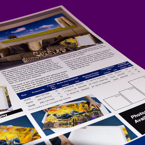 Sign & Decor | Literature Design | Product Guide: JetMaster Photo Wrap Sizes
