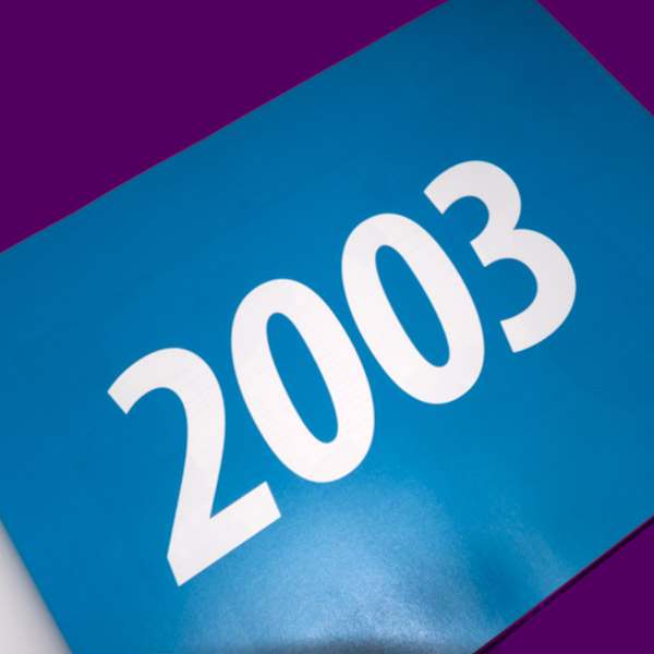 Fifteen Years of Innova Art | Book Design | 2003 Year Introduction Page